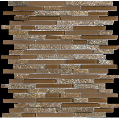 "Emser Tile Lucente 13"" x 13"" Stone and Glass Linear Mosaic Blend in Venezia"