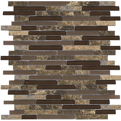 Lucente Random Sized Stone and Glass Linear Mosaic Blend in Vetro
