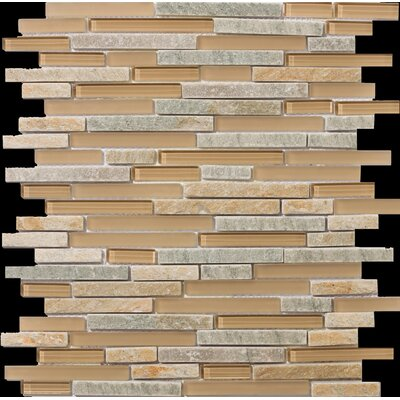 Lucente Random Sized Stone and Glass Linear Mosaic Blend in Putini