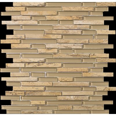 "Emser Tile Lucente 13"" x 13"" Stone and Glass Linear Mosaic Blend in Regale"