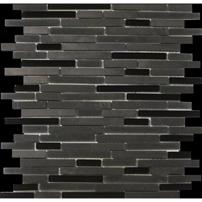 "Emser Tile Lucente 13"" x 13"" Stone and Glass Linear Mosaic Blend in Zanfirico"