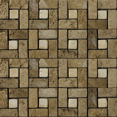 "Emser Tile Natural Stone 12"" x 12"" Travertine Pinwheel Mosaic in Mocha/Beige"