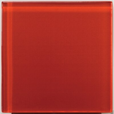 "Emser Tile Lucente 4"" x 4"" Glossy Glass Tile in Ruby"