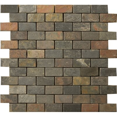 "Emser Tile Natural Stone 12"" x 12"" Slate Brick-Joint Mosaic in Multi Rajah"
