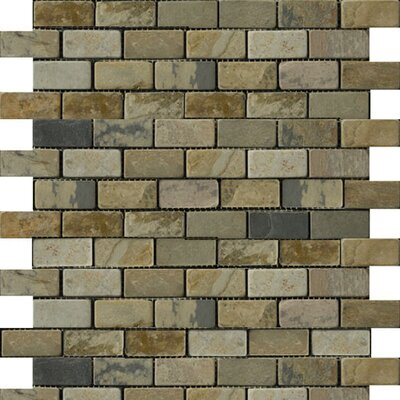 """Emser Tile Natural Stone 2"""" x 1"""" Slate Brick-Joint Mosaic in Autumn Lilac"""