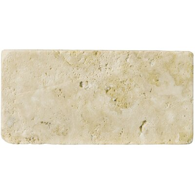 "Emser Tile Natural Stone 3"" x 6"" Unfilled and Tumbled Travertine Tile in Ancient Beige"
