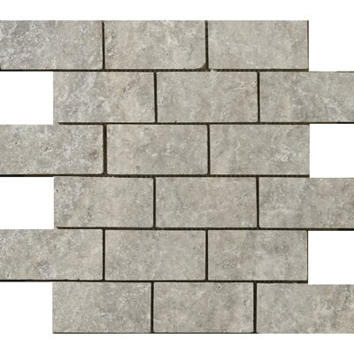 """Emser Tile Natural Stone 2"""" x 1"""" Travertine Offset Mosaic in Silver"""