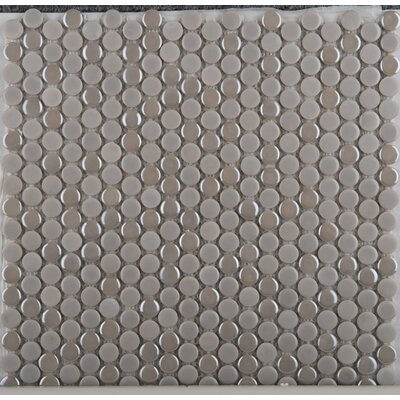 Emser Tile Confetti Porcelain Penny Round Mosaic in Silver