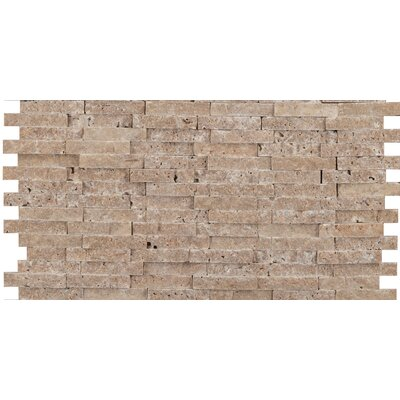 "Emser Tile Hamlet 6"" x 12"" Antique Tumbled Travertine Mosaic in Noce"
