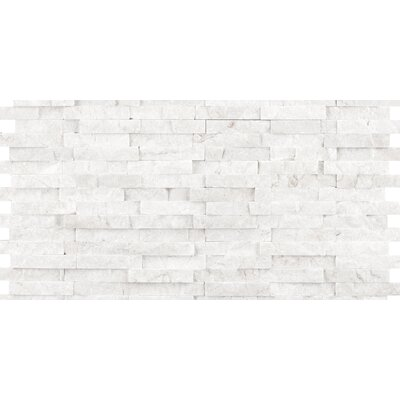 "Emser Tile Hamlet 6"" x 12"" Antique Tumbled Travertine Mosaic in White"