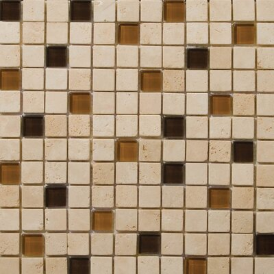 Emser Tile Natural Stone Travertine Ancient Tumbled Glass Blend Mosaic in Pingu Beige