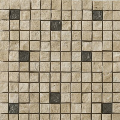 "Emser Tile Natural Stone 12"" x 12"" Travertine Ancient Tumbled Metal Blend Mosaic in Alloy Beige"