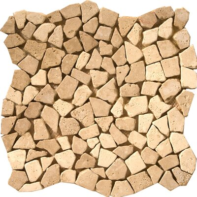 Natural Stone Random Sized Travertine Pebble Mosaic in Beige