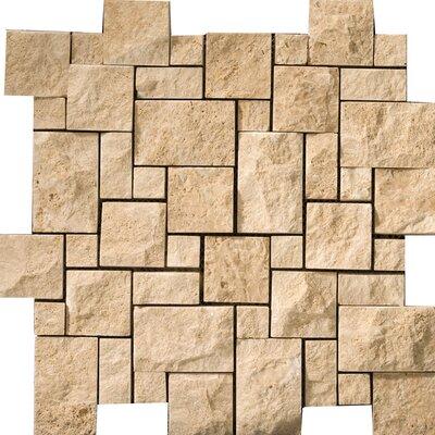 Emser Tile Natural Stone Random Sized Travertine Split Face Versailles Mosaic in Beige