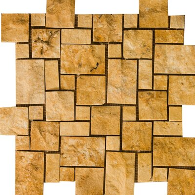 Emser Tile Natural Stone Random Sized Travertine Split Face Versailles Mosaic in Gold
