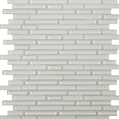 Lucente Random Sized Glass Mosaic in Blanc Linear