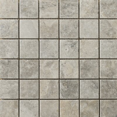 "Emser Tile Natural Stone 12"" x 12"" Travertine Mosaic in Silver"