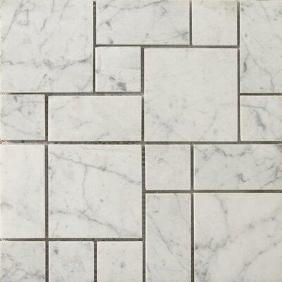 Emser Tile Natural Stone Random Sized Mini Versailles Honed Marble Mosaic in Bianco Gioia