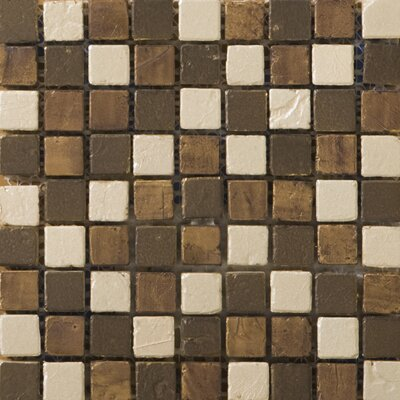 "Emser Tile Treasure 12"" x 12"" Metal Coated Travertine Mosaic Blend in Bounty"