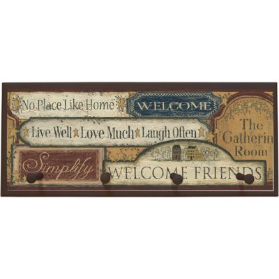 Country Sign Wall Plaque with Wooden Pegs