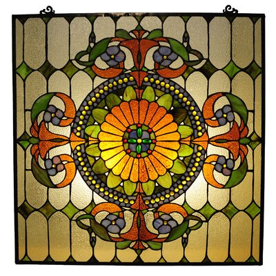 Chloe Lighting Tiffany Style Victorian Window Panel with 89 Cabochons