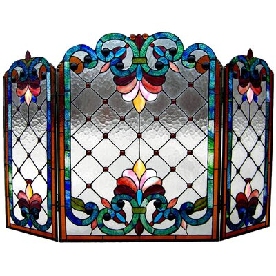 Tiffany 3 Panel Bronze Fireplace Screen