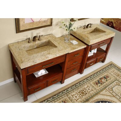 "Silkroad Exclusive Cameron 92"" Double Bathroom Vanity Set"