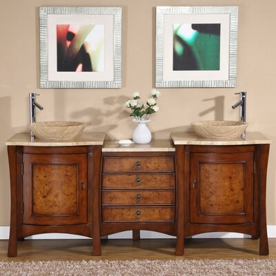 "Silkroad Exclusive Northampton 72"" Double Bathroom Vanity Set"