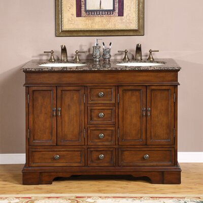 "Silkroad Exclusive Bradford 48"" Bathroom Double Sink Cabinet Vanity Set"