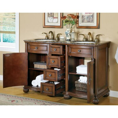 "Silkroad Exclusive Adela 52"" Double Sink Bathroom Vanity Cabinet"