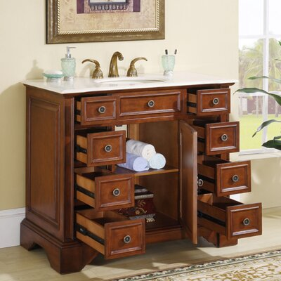 "Silkroad Exclusive Jennifer 40"" Single Sink Bathroom Vanity Set"