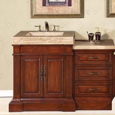 "Silkroad Exclusive Brown Stanton 51"" Single Sink Bathroom Vanity"