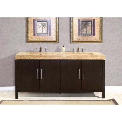 "Silkroad Exclusive 72"" Stanton Modern Bathroom Double Vanity Integrated Sink Cabinet"