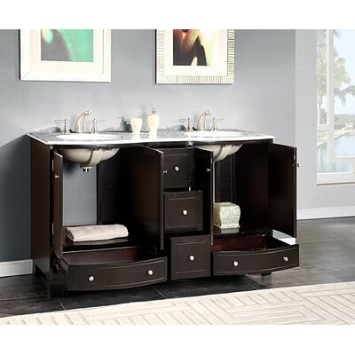 Silkroad Exclusive Naomi 60 Double Bathroom Vanity Set