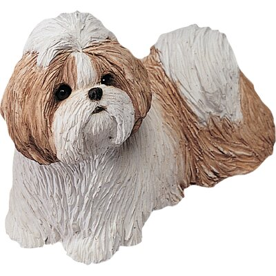 Sandicast Mid Size Shih Tzu Sculpture in Gold / White