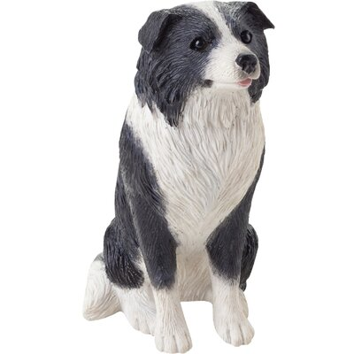 Sandicast Small Size Border Collie Sculpture in Black / White