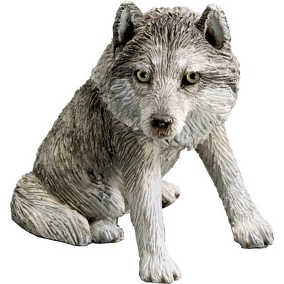 Small Size Sitting Wolf Sculpture in Gray
