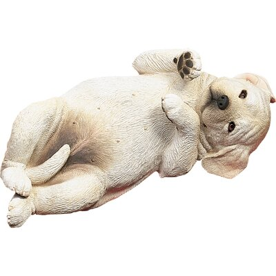Life Size Playful Labrador Retriever Pup Sculpture in Yellow