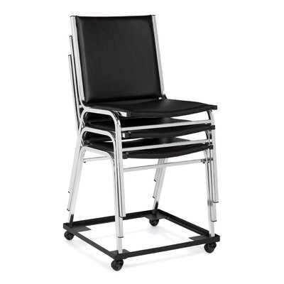 Offices To Go Armless Stacking Chair in Black Vinyl Upholstery