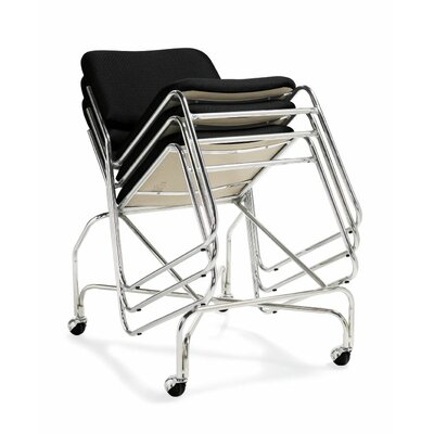Offices To Go Armless Stacking Chair in Black with Tubular Steel Frame