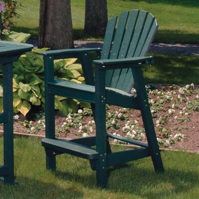 Seaside Casual Adirondack Shell Back Outdoor Bar Chair - EnviroWood