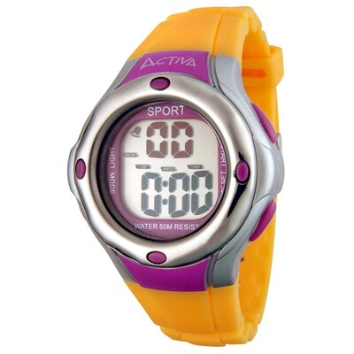 Activa Watches Midsize Rubber Digital Multi-Function Watch in Yellow