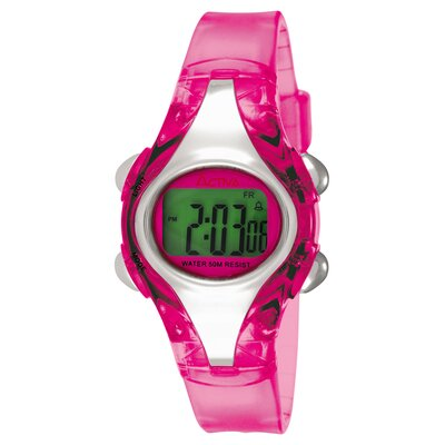 Women's Plastic Digital Multi-Function Watch with Pink Strap