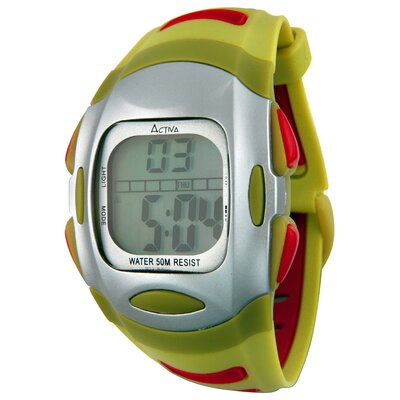 Men's Plastic Digital Watch in Green and Red