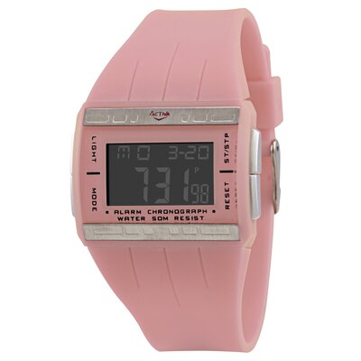 Women's Plastic Digital Multi-Function Watch in Pink
