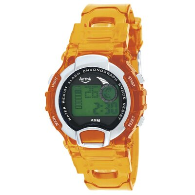Activa Watches Midsize Digital Watch with Orange Strap