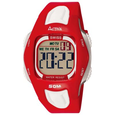 Men's Digital Multi-Function Watch in Red and White