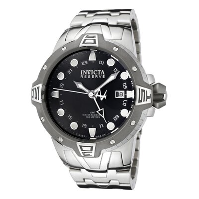 Invicta Men's Reserve GMT Black Dial Stainless Steel Watch