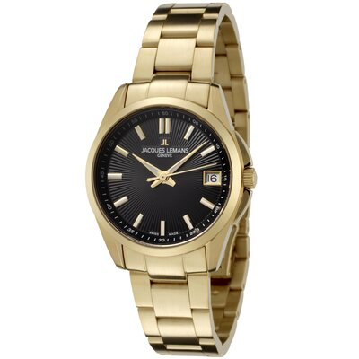Women's Genève / Tempora Black Dial Gold Plated Stainless Steel Watch
