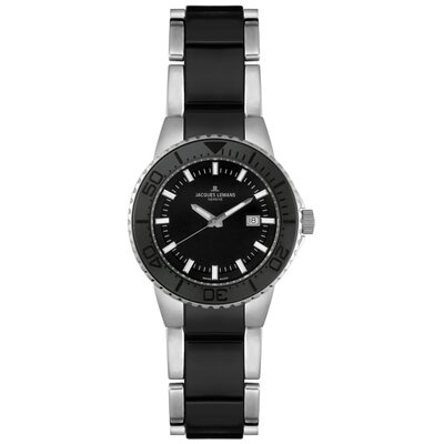 Women's Genève Stainless Steel and Black Ceramic Watch